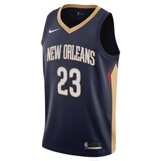 Nike New Orleans Pelicans Anthony Davis Icon 2019 Mens Swingman Jersey College Navy / Club Gold S, College Navy / Club Gold, rebel_hi-res