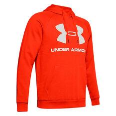 Under Armour Mens Rival Logo Fleece Hoodie Orange XS, Orange, rebel_hi-res