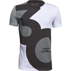 Under Armour Boys Big SC30 Logo Tee White / Grey XS, White / Grey, rebel_hi-res