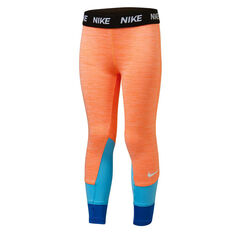 Nike Girls Dri FIT Split Tights Black / White 4, Black / White, rebel_hi-res