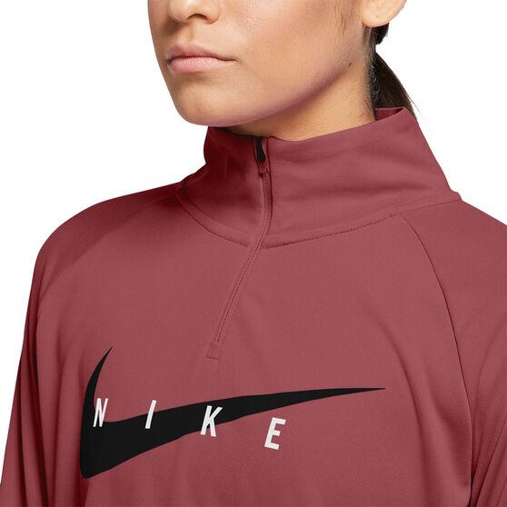 Nike Womens Swoosh Run Running Top, Pink, rebel_hi-res