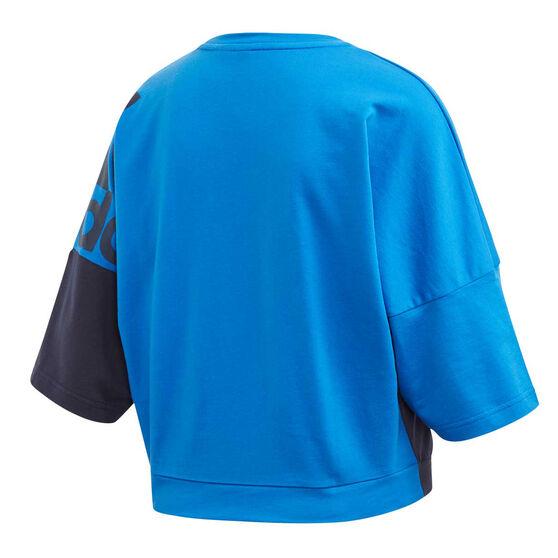 adidas Womens ColourBlock Sweatshirt, Blue, rebel_hi-res
