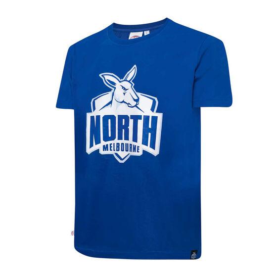 North Melbourne Kangaroos Mens Supporter Logo Tee, Blue, rebel_hi-res