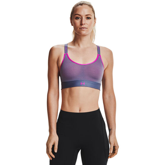 Under Armour Womens Infinity Mid Run Sports Bra, Blue, rebel_hi-res