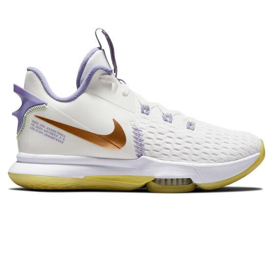Nike LeBron Witness V Basketball Shoes White US 7, White, rebel_hi-res