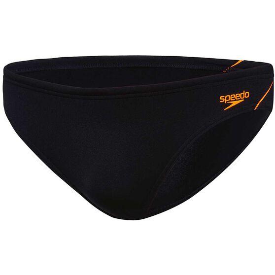 Speedo Boys Endurance Swim Briefs, Black / Orange, rebel_hi-res