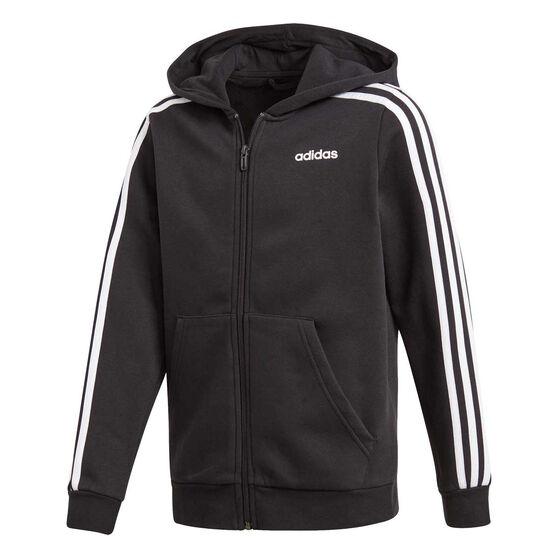 adidas Boys Essentials 3 Stripes Full Zip Hoodie Black / White 8, Black / White, rebel_hi-res