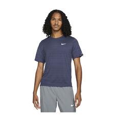 Nike Mens Dri-FIT Miler Running Tee Blue S, , rebel_hi-res
