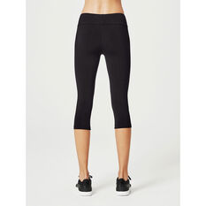 Running Bare Womens 3/4 Tights, Black, rebel_hi-res