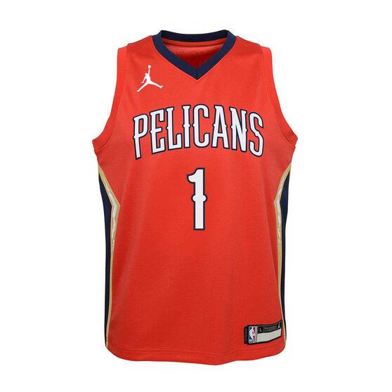 Jordan New Orleans Pelicans Zion Williamson 2020/21 Kids Statement Jersey, Red, rebel_hi-res