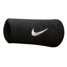 Nike Swoosh Double Wide Wristband Black / White OSFA, Black / White, rebel_hi-res