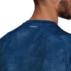adidas Mens Freelift Tennis T-Shirt Navy M, Navy, rebel_hi-res