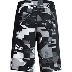 Under Armour Boys Baseline Shorts Black / Grey XS, Black / Grey, rebel_hi-res