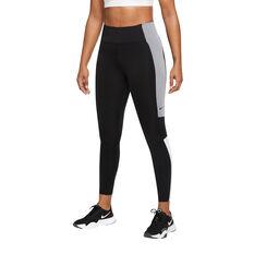 Nike Womens Dri-FIT One Colour-Block 7/8 Tights Black XS, Black, rebel_hi-res