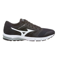 The Mizuno Synchro 2 MD Mens Running Shoes Black / White US 7, Black / White, rebel_hi-res