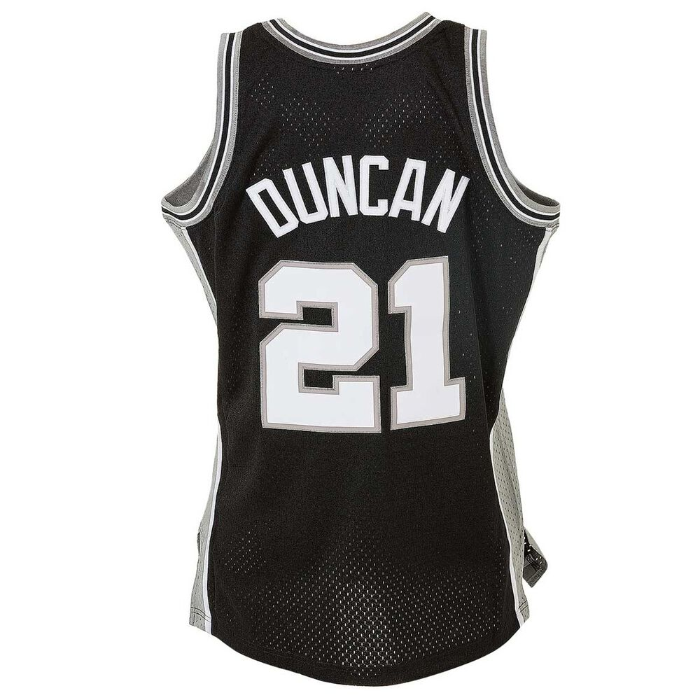 181f7e8b343 Mitchell and Ness San Antonio Spurs Tim Duncan Mens Swingman Jersey Black /  Silver S,