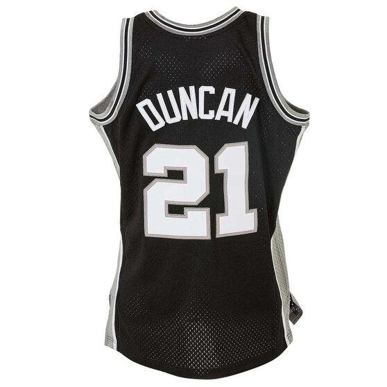 online retailer 71ec7 5b637 Mitchell and Ness San Antonio Spurs Tim Duncan Mens Swingman Jersey Black /  Silver S