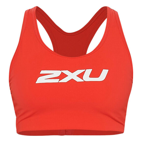 2XU Womens Motion Racerback Sports Bra, Red, rebel_hi-res