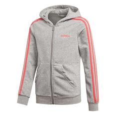 adidas Girls 3 Stripes Full Zip Hoodie Grey / Pink 6, Grey / Pink, rebel_hi-res