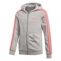 adidas Girls 3 Stripes Full Zip Hoodie Grey / Pink 6, Grey / Pink, rebel_hi-res