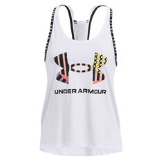 Under Armour Womens Geo Knockout Tank, White, rebel_hi-res