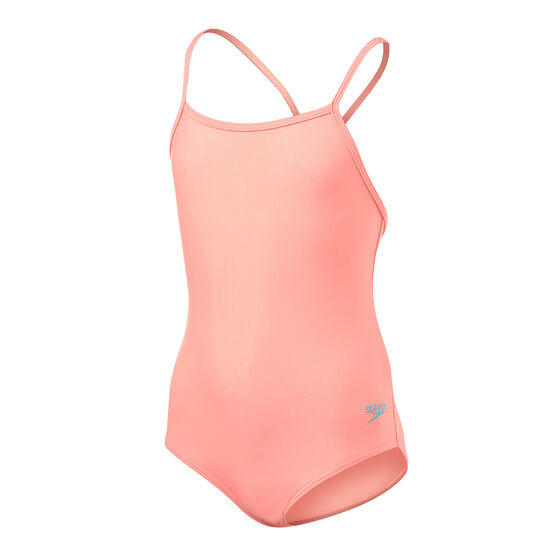 Speedo Girls Leisure Crossback One Piece Swimsuit Coral 4, Coral, rebel_hi-res