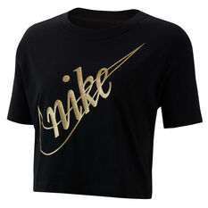 Nike Womens Sportswear Glam Dunk Crop Tee Black XS, Black, rebel_hi-res