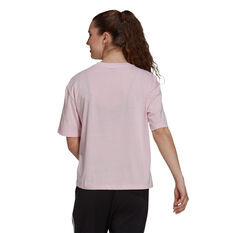 adidas Womens Soft Floral Logo Graphic Tee Pink XS, Pink, rebel_hi-res