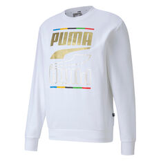 PUMA Mens Rebel 5 Continents Sweatshirt, White, rebel_hi-res