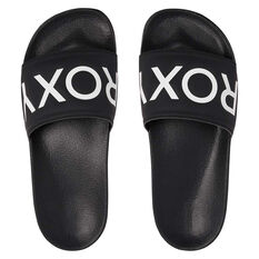 Roxy Slippy II Womens Slides Black/White US 6, Black/White, rebel_hi-res