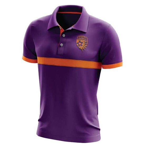 Perth Glory Mens Performance Polo, Purple, rebel_hi-res