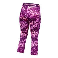 Under Armour Girls Printed Armour Capri Purple XS, Purple, rebel_hi-res