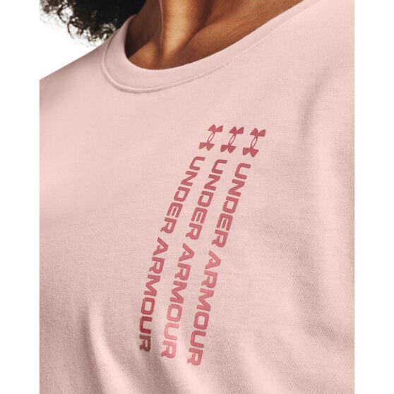 Under Armour Womens Repeat Wordmark Graphic Tee, Pink, rebel_hi-res