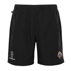 West Tigers 2021 Mens Sports Shorts Black S, Black, rebel_hi-res