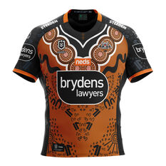 Wests Tigers Kids 2021 Indigenous Jersey Orange 6, Orange, rebel_hi-res