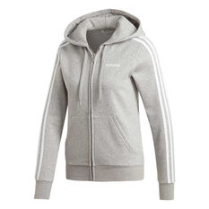adidas Womens Essentials 3 Stripes Fleece Hoodie, Grey, rebel_hi-res
