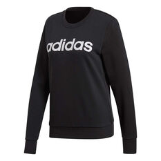 adidas Womens Essentials Linear Crewneck Sweatshirt Black / White XS, Black / White, rebel_hi-res