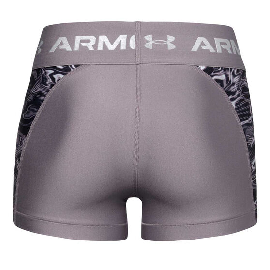 Under Armour Womens HeatGear Armour Printed Shorty Shorts, Purple, rebel_hi-res