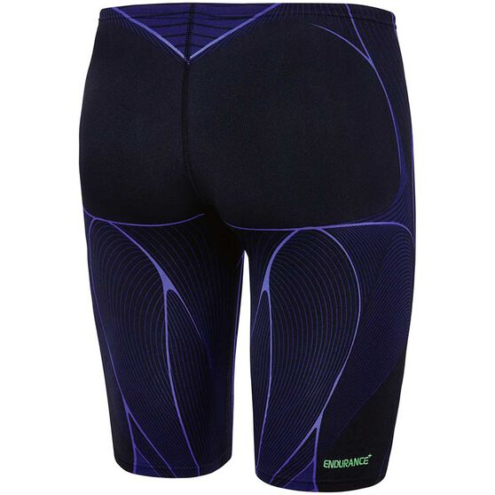 Speedo Mens Kinetic Jammer Swim Shorts, Black / Blue, rebel_hi-res
