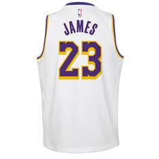 Nike Los Angeles Lakers LeBron James Association 2019 Kids Swingman Jersey White / Blue S, White / Blue, rebel_hi-res