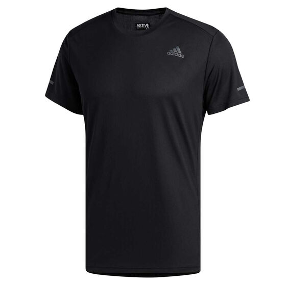 adidas Mens Run It Tee Black S, Black, rebel_hi-res