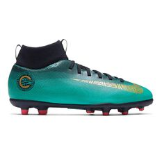 Nike Superfly VI Club CR7 MG Kids Football Boots Green / Gold US 1 Junior, Green / Gold, rebel_hi-res