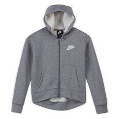Nike Girls VF NSW Club FZ Hoodie Grey XS, Grey, rebel_hi-res