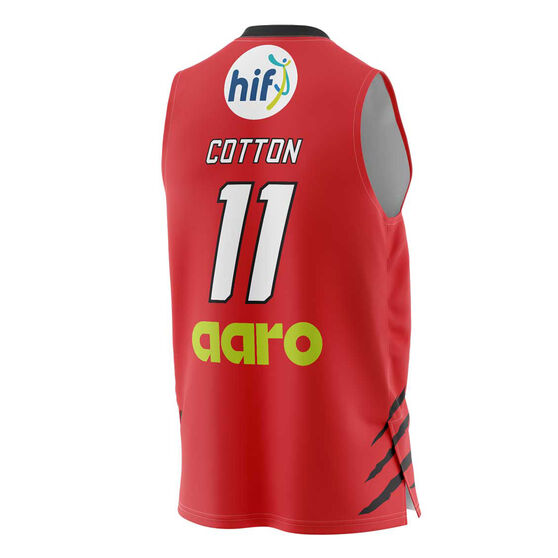 Perth Wildcats Bryce Cotton 20/21 Mens Home Jersey, Red, rebel_hi-res