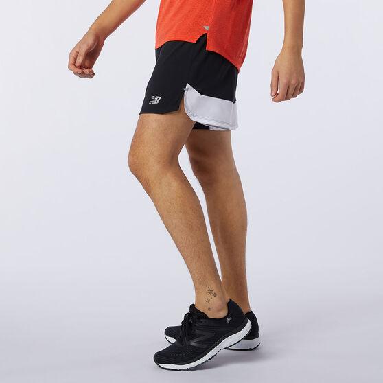 New Balance Mens Printed Impact Run 5in Shorts, Black, rebel_hi-res