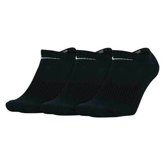 Nike Mens Cushioned No Show 3 Pack Socks, Black, rebel_hi-res