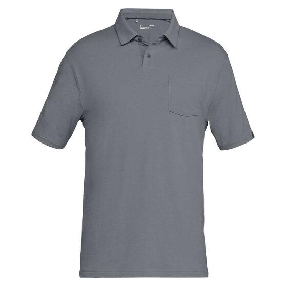 e1bbcc1e Under Armour Mens Charged Cotton Scramble Polo Shirt, Zinc, rebel_hi-res