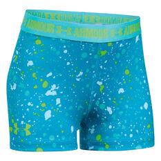 Under Armour Girls HeatGear Armour Printed Shorts Blue XL, Blue, rebel_hi-res