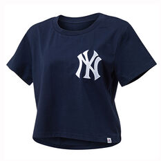 Majestic Womens NY Cropped Tee Navy XS, Navy, rebel_hi-res