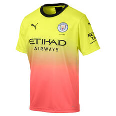 Manchester City FC 2019/20 Mens 3rd Jersey Yellow / Pink L, Yellow / Pink, rebel_hi-res